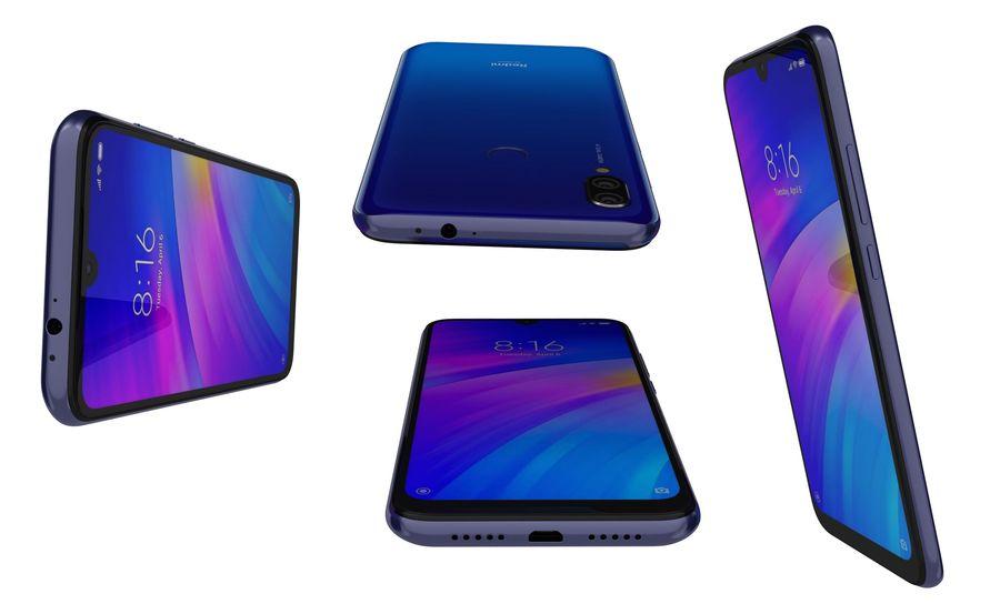 Xiaomi Redmi 7 Comet Blue royalty-free 3d model - Preview no. 15