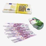 Paper Euro Banknotes Collection 3d model