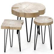 석판으로 만든 커피 테이블 세트 3d model
