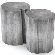 灰色の切り株テーブル 3d model