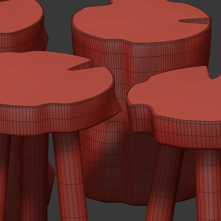 A series of coffee tables made of stumps and slab royalty-free 3d model - Preview no. 6