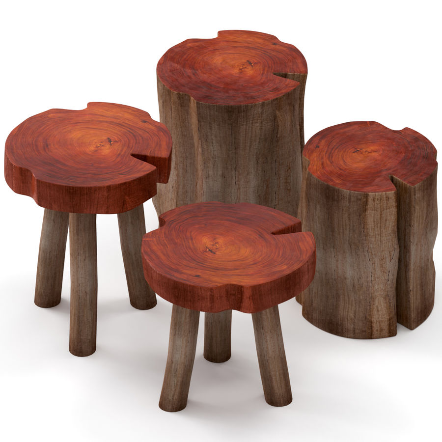 A series of coffee tables made of stumps and slab royalty-free 3d model - Preview no. 1