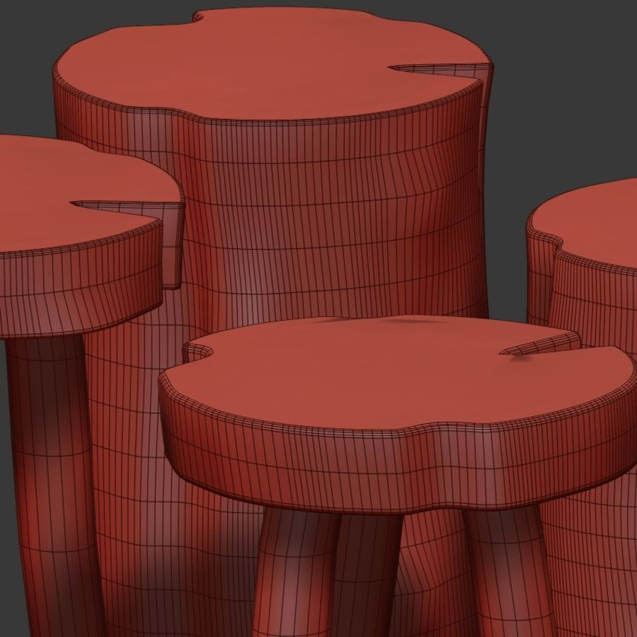 A series of coffee tables made of stumps and slab royalty-free 3d model - Preview no. 5