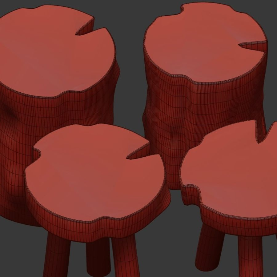 A series of coffee tables made of stumps and slab royalty-free 3d model - Preview no. 7