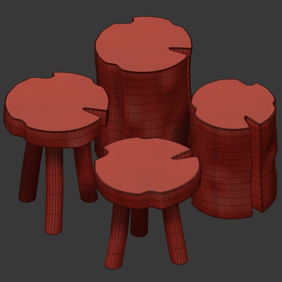A series of coffee tables made of stumps and slab royalty-free 3d model - Preview no. 4