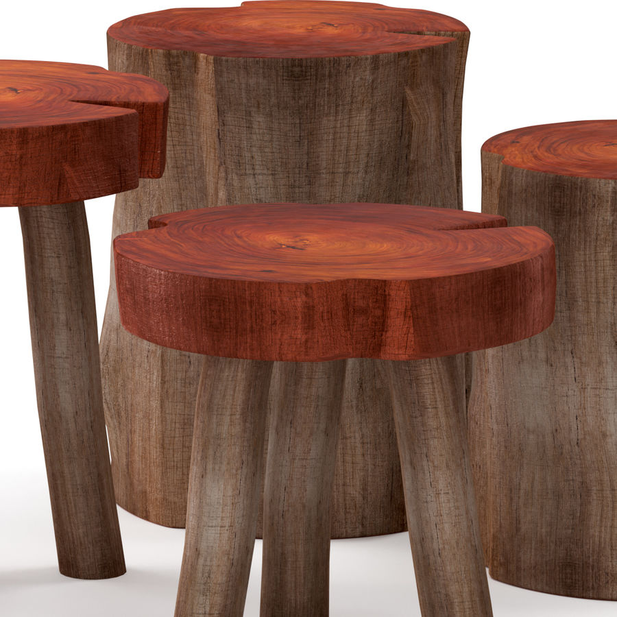 A series of coffee tables made of stumps and slab royalty-free 3d model - Preview no. 2