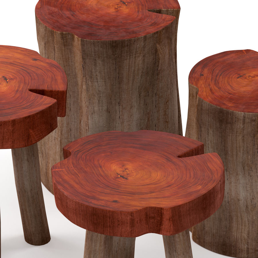 A series of coffee tables made of stumps and slab royalty-free 3d model - Preview no. 3
