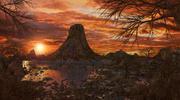 Environnement du volcan coucher de soleil 3d model