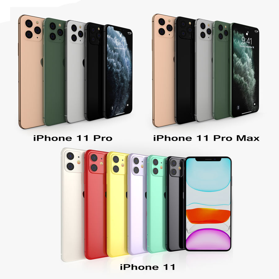 iPhone 11 Pro e iPhone 11 Pro Max e iPhone 11 royalty-free 3d model - Preview no. 1