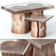 Coffee tables made of stumps and epoxy 3d model