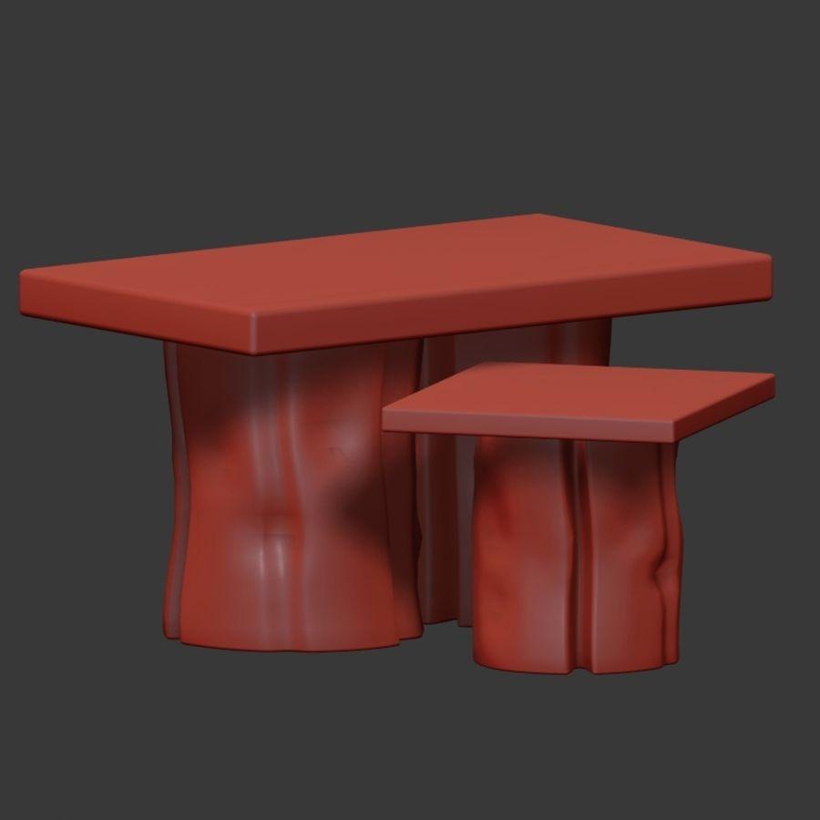 由树桩和环氧树脂制成的茶几 royalty-free 3d model - Preview no. 6