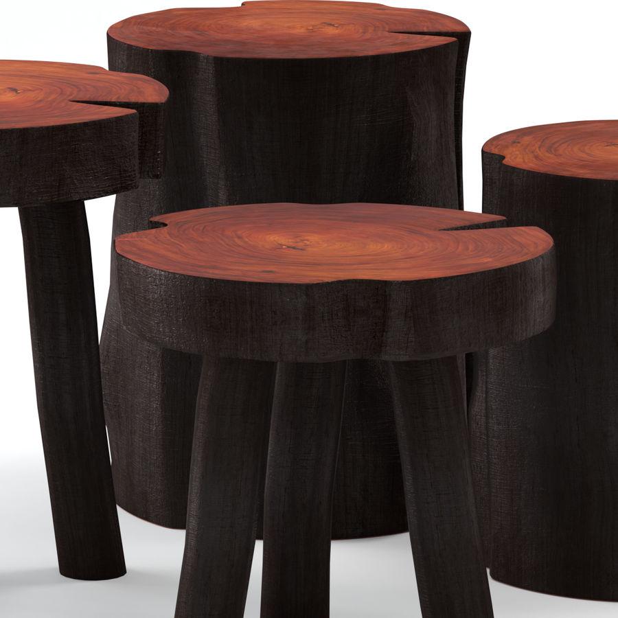 Mesas de centro hechas de tocones y losas. royalty-free modelo 3d - Preview no. 2