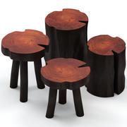 Salontafels gemaakt van stronken en platen 3d model