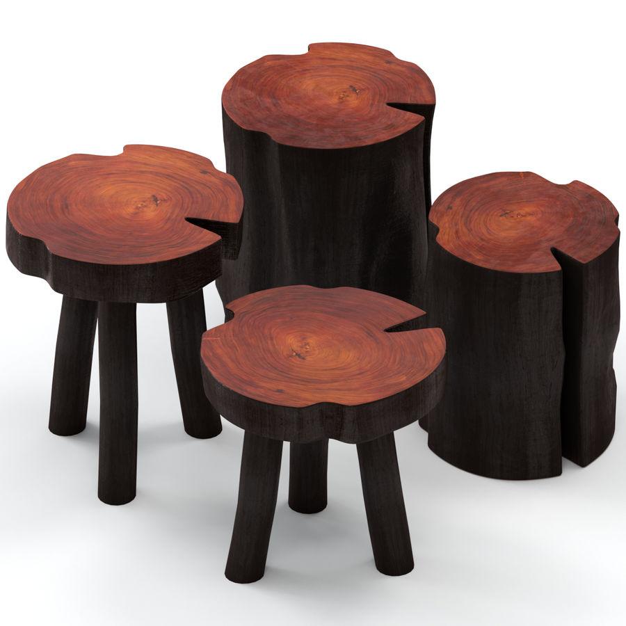 Mesas de centro hechas de tocones y losas. royalty-free modelo 3d - Preview no. 1