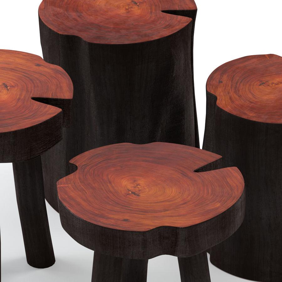 Mesas de centro hechas de tocones y losas. royalty-free modelo 3d - Preview no. 3