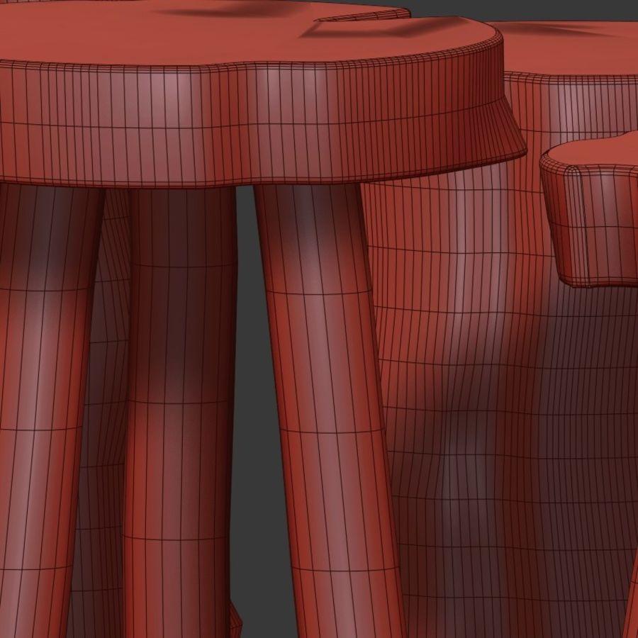 Mesas de centro hechas de tocones y losas. royalty-free modelo 3d - Preview no. 7