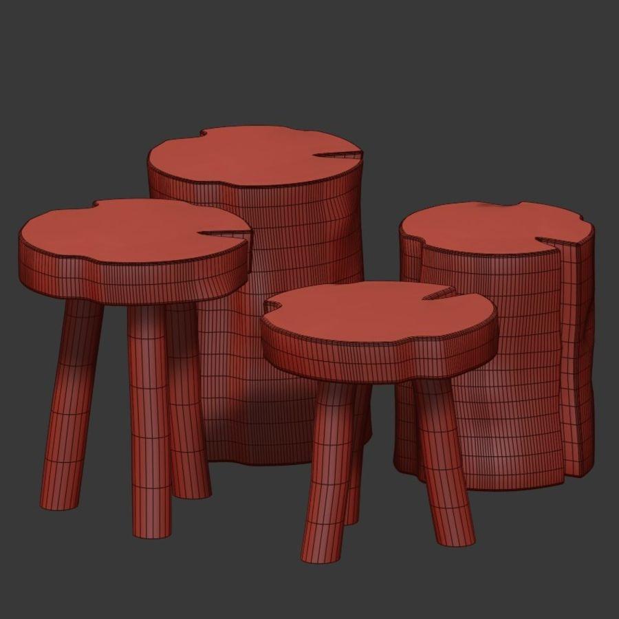 Mesas de centro hechas de tocones y losas. royalty-free modelo 3d - Preview no. 5