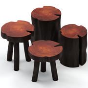 Coffee tables made of stumps and slab 3d model