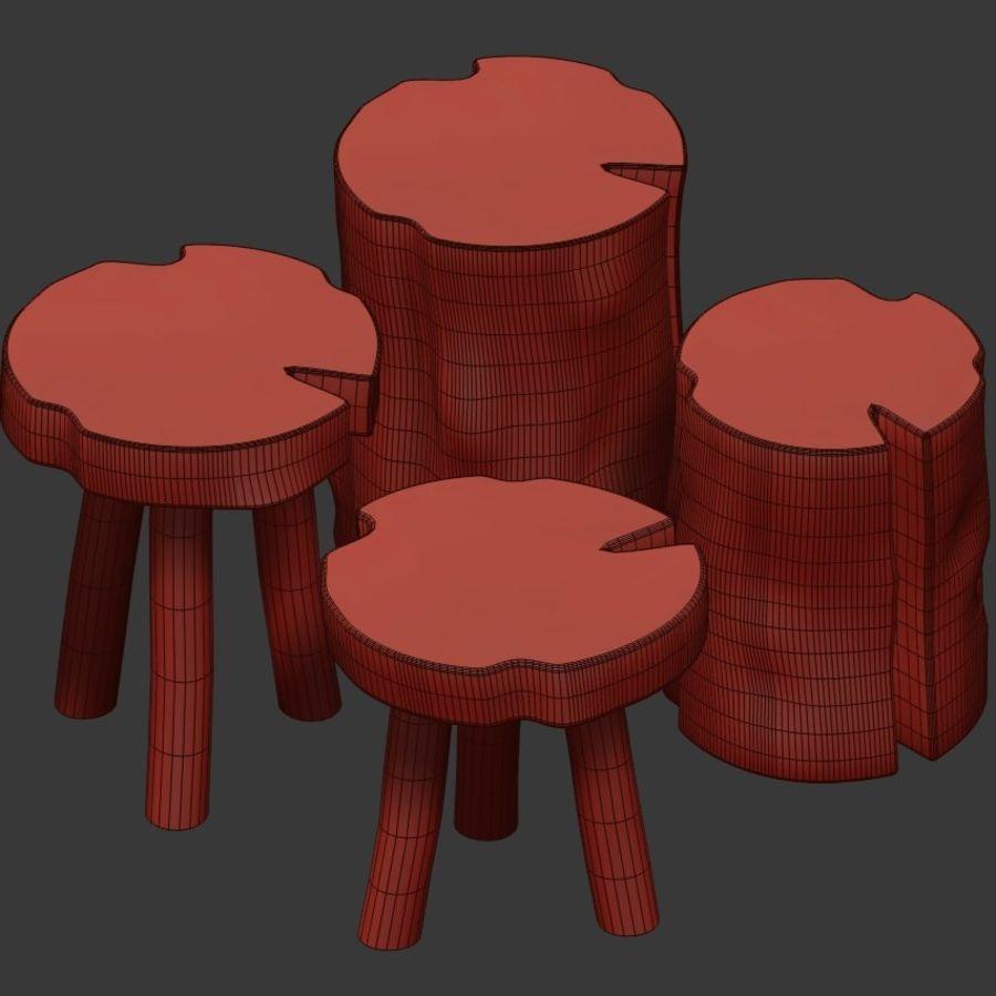 Mesas de centro hechas de tocones y losas. royalty-free modelo 3d - Preview no. 4