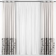 Curtains with tulle 3d model