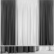 Black curtains from tulle 3d model