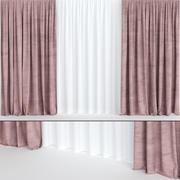 Burgundy velvet curtains with tulle 3d model