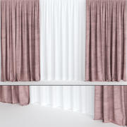 Burgundy velvet curtains with tulle 3d model