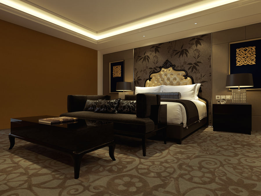 Classic bed Bedroom royalty-free 3d model - Preview no. 2