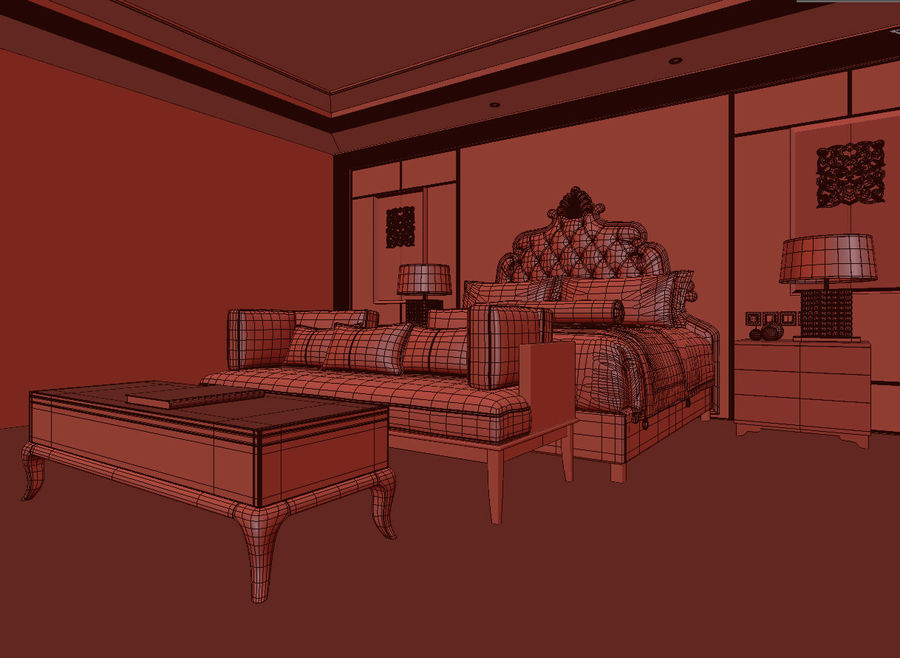 Classic bed Bedroom royalty-free 3d model - Preview no. 3