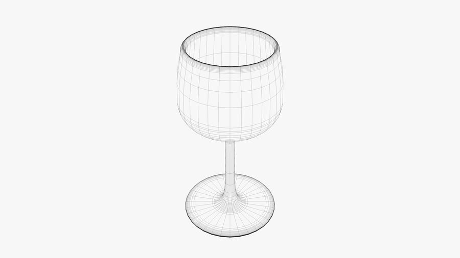 Glass Wine royalty-free 3d model - Preview no. 3
