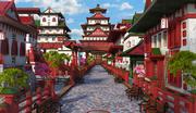 Fantasy Asian Street 3d model