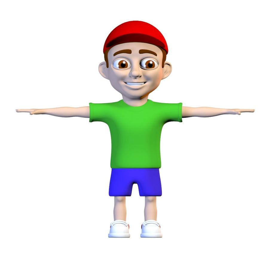 Cartoon Boy Child Kid Character royalty-free 3d model - Preview no. 2