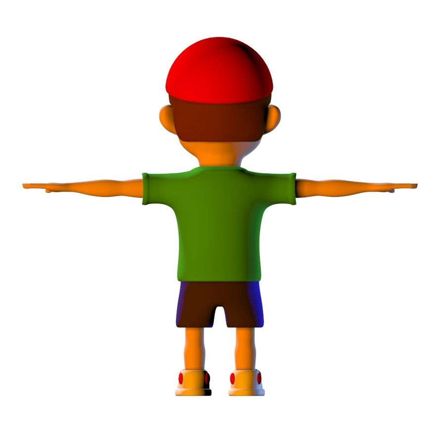 Cartoon Boy Child Kid Character royalty-free 3d model - Preview no. 4