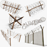 Barbed wire hinder staket PBR 3d model