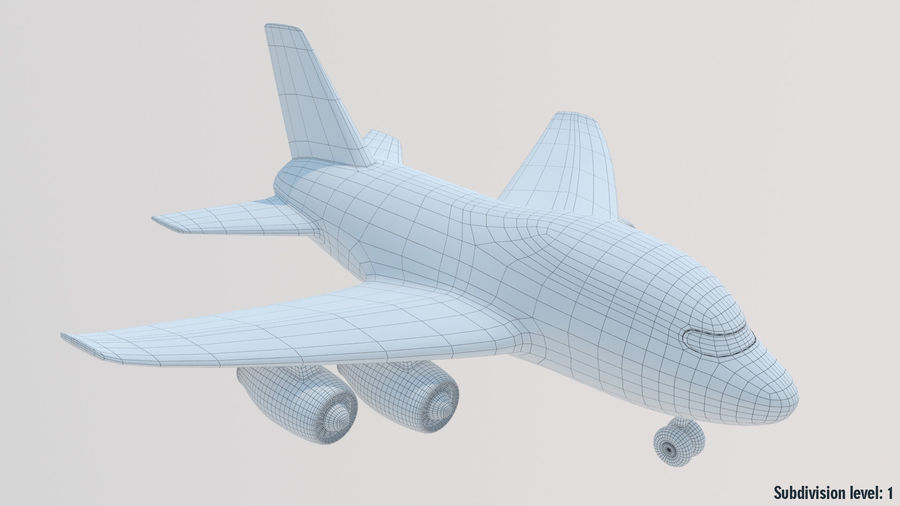 Toy Cartoon Airplane royalty-free 3d model - Preview no. 12