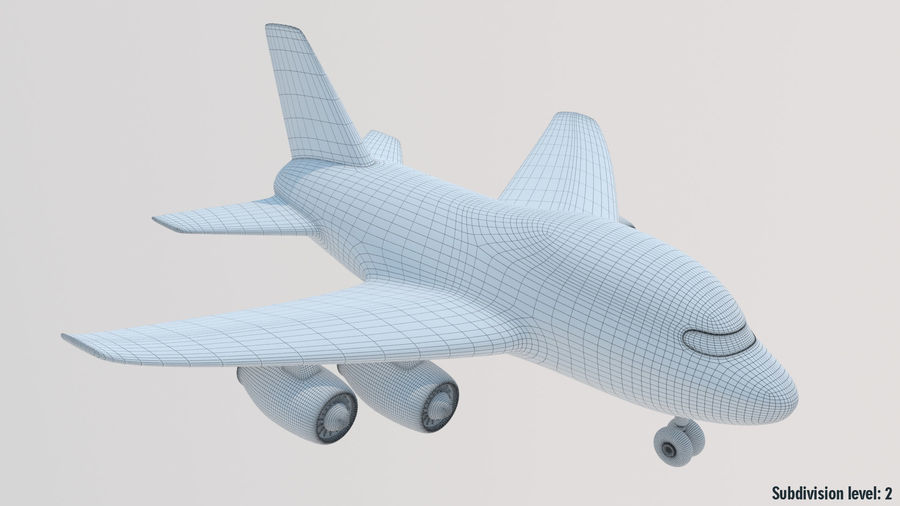 Toy Cartoon Airplane royalty-free 3d model - Preview no. 13