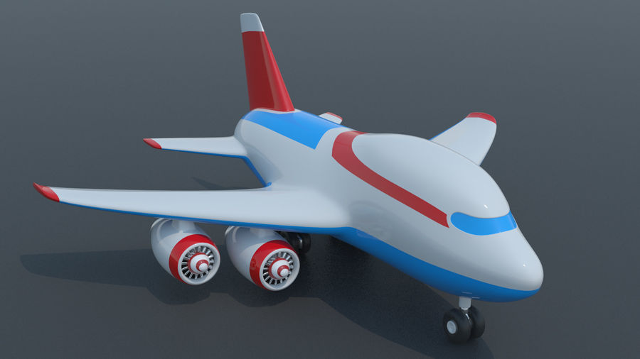 Toy Cartoon Airplane royalty-free 3d model - Preview no. 2