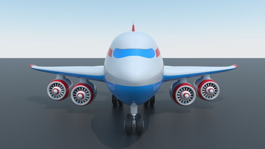 Toy Cartoon Airplane royalty-free 3d model - Preview no. 4