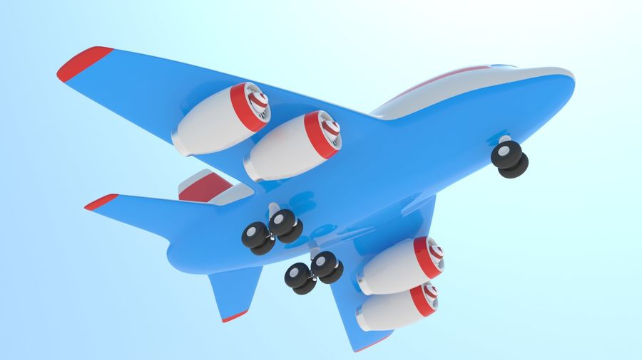 Toy Cartoon Airplane royalty-free 3d model - Preview no. 7