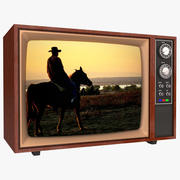레트로 컬러 CRT TV 3d model