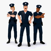 LowPoly Police Team Rigged 3d model