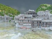 Średniowieczna azjatycka wioska rzeczna i krajobraz 3d model