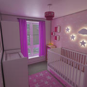 Girls Nursery Bedroom Interior 3d model