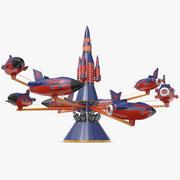 Rocket Carousel Tema parkı 3d model