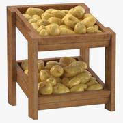 깨끗한 감자와 나무 상품 선반 02 3d model