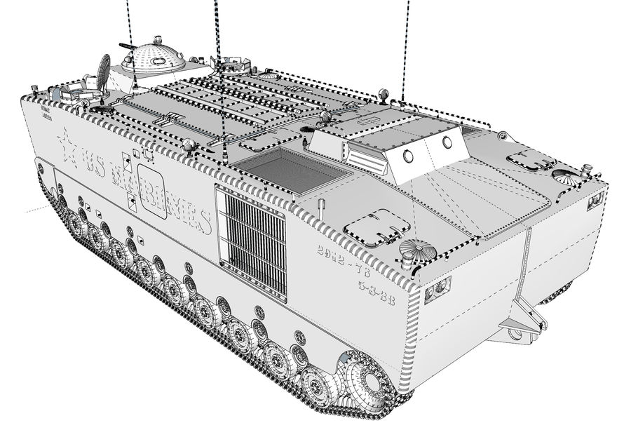 Amtrack LVTP-5 미국 해병대 양서류 royalty-free 3d model - Preview no. 6