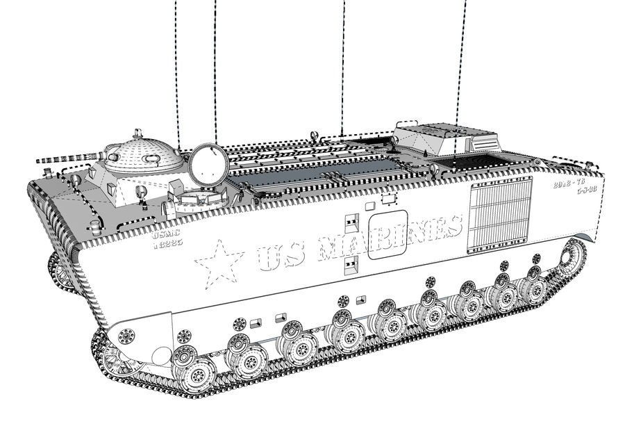 Amtrack LVTP-5 미국 해병대 양서류 royalty-free 3d model - Preview no. 5