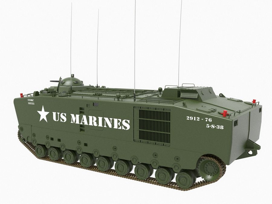 Amtrack LVTP-5 미국 해병대 양서류 royalty-free 3d model - Preview no. 2
