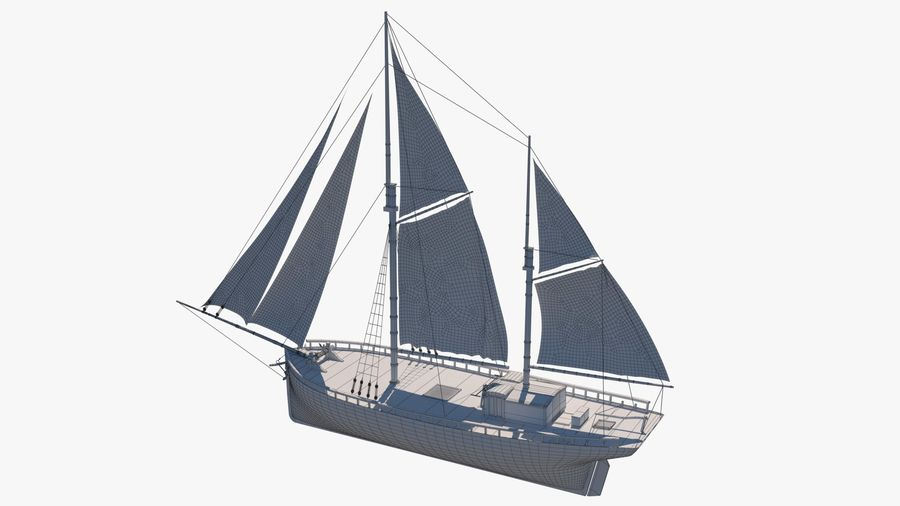 Old boat Sailboat royalty-free 3d model - Preview no. 13