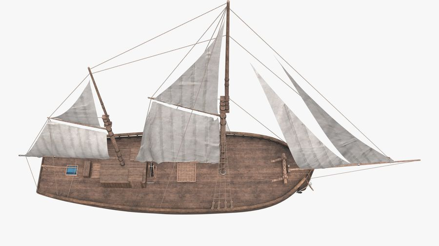 Old boat Sailboat royalty-free 3d model - Preview no. 9